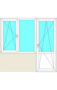Балконная группа 2120(в)*800(ш)+1420(в)*1340(ш), профиль 5-камерный